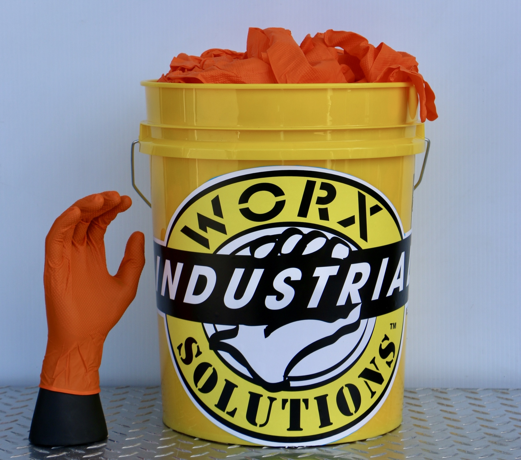 ORANGE NITRILE 7MIL THICK GLOVES 500pc BUCKET / (TEMPORARILY SOLD OUT UNTIL 4/25/2020)